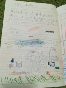 嘉成晴香の5歳の絵日記「川原」