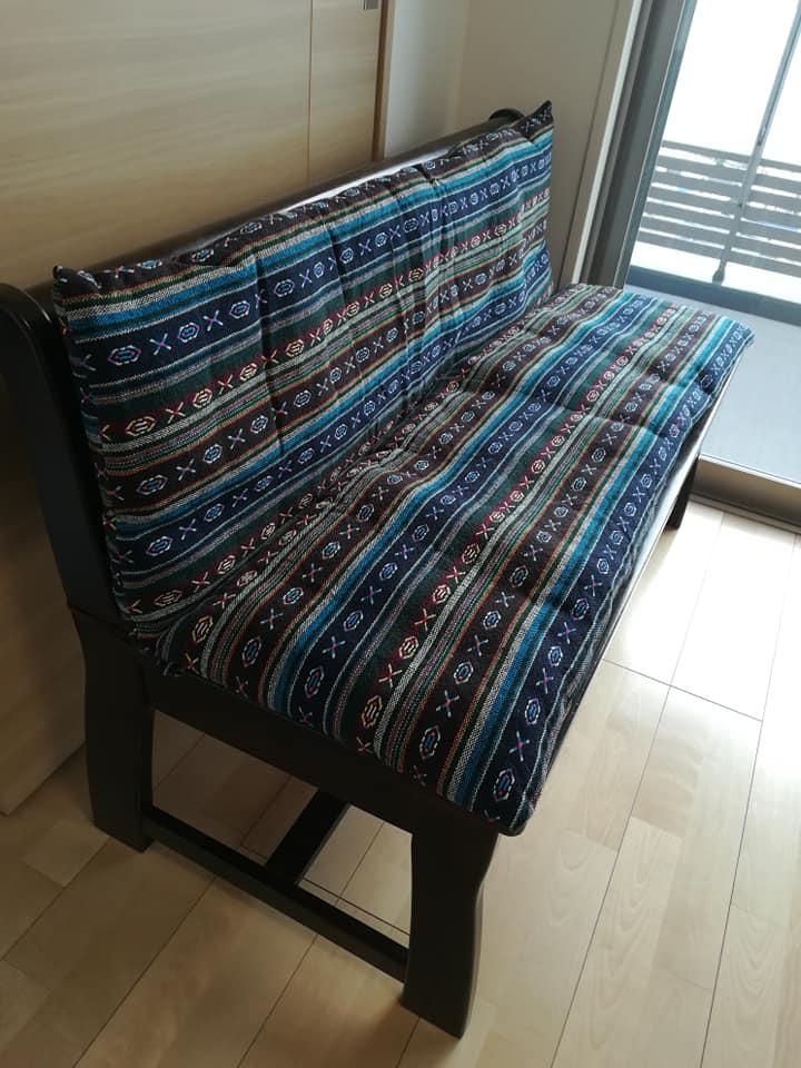 テーブルベンチと座布団