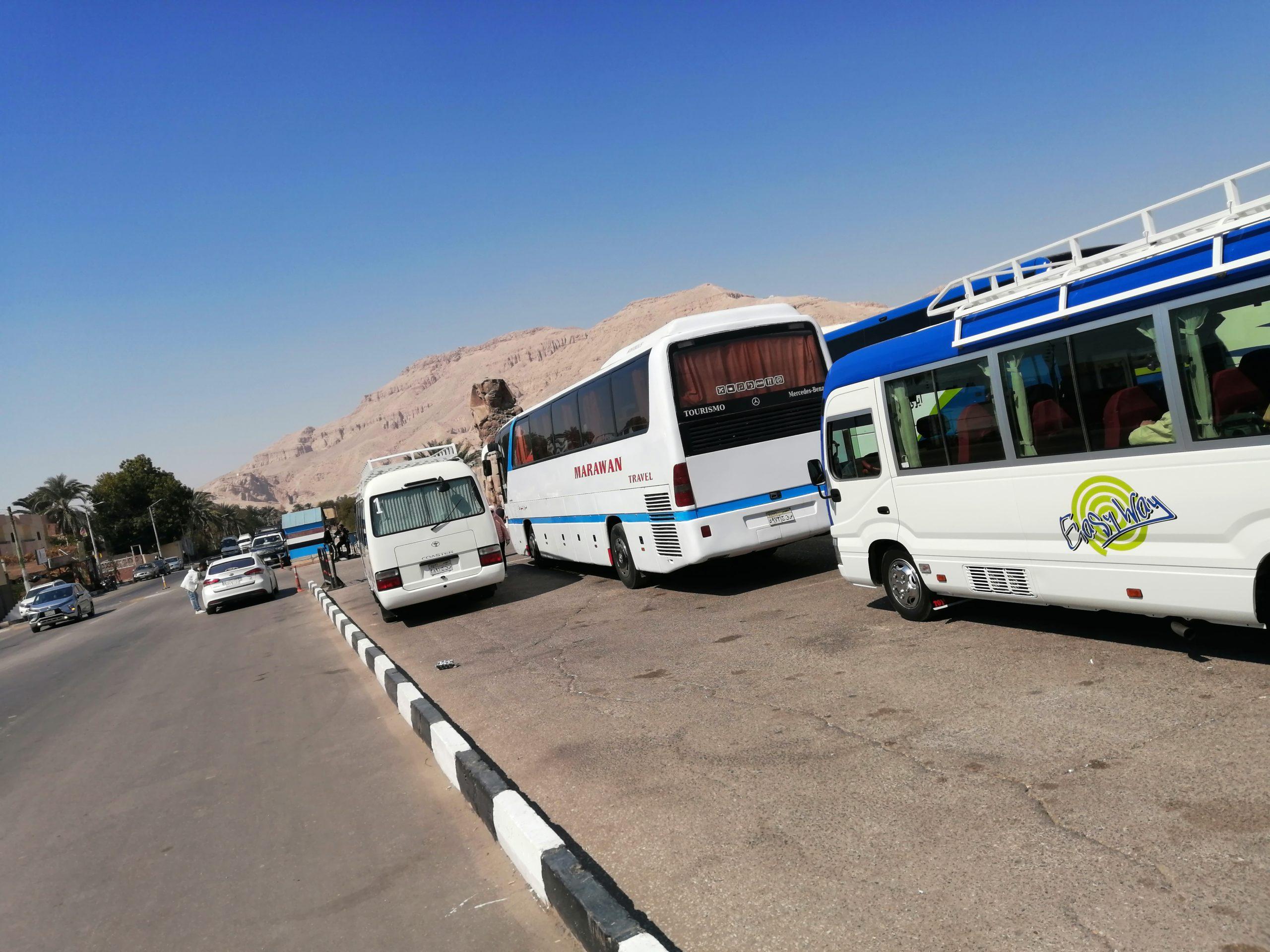 メムノンの巨像の観光バス