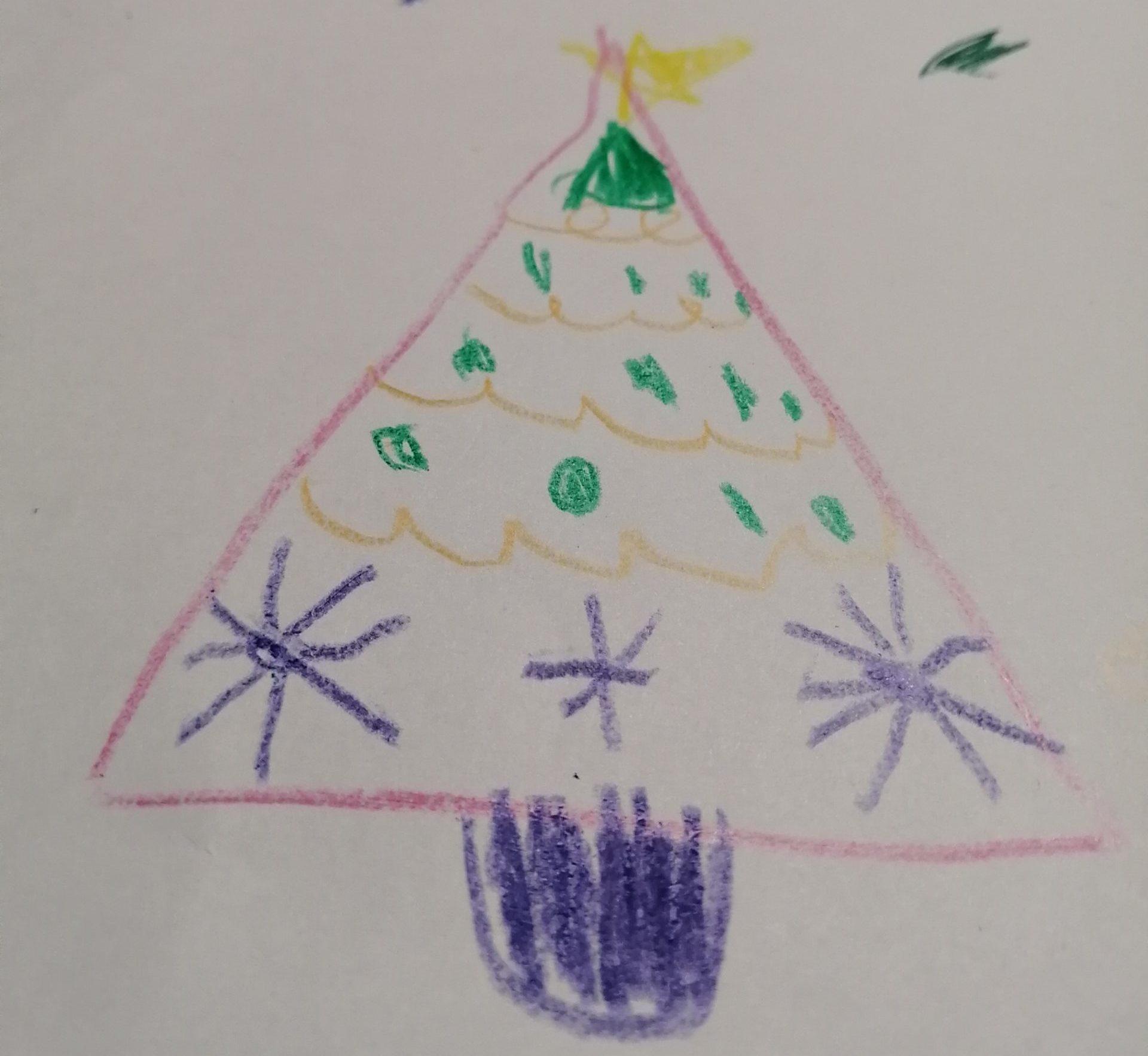 子どもが描いたクリスマスツリー